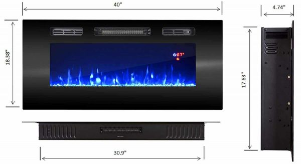 """EFire1 40"""" Electric Fireplace Recessed Wall Mounted Heater, 1500W/5100BTU 5"""