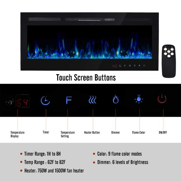 ELECWISH Electric Fireplace Insert 50 Inch Wide in Wall Recessed and Wall Mounted Electric Fireplace Heater with Touch Screen Panel and Remote Control, Black 1
