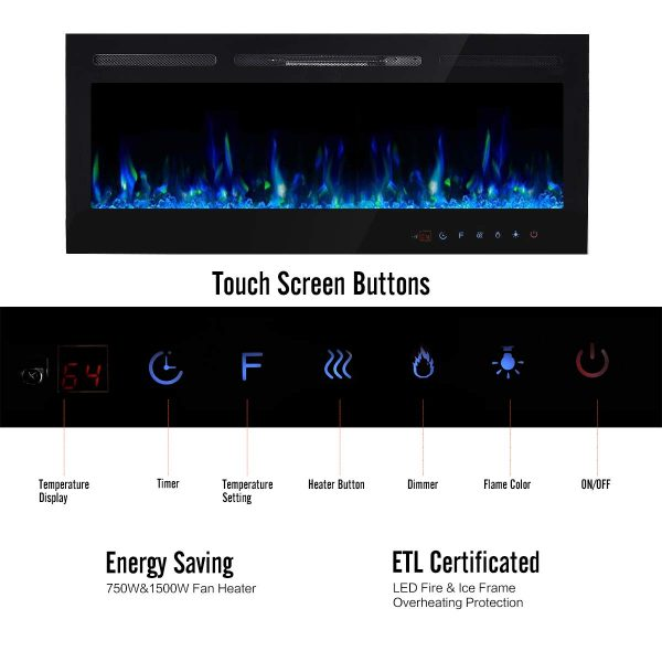 ELECWISH Electric Fireplace Insert 50 Inch Wide in Wall Recessed and Wall Mounted Electric Fireplace Heater with Touch Screen Panel and Remote Control, Black 2