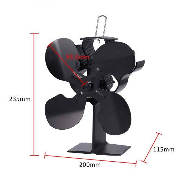 ESYNIC Black Eco Friendly 4 Blade Stove Fan Heat Powered Log Wood Burner Top Fan 3