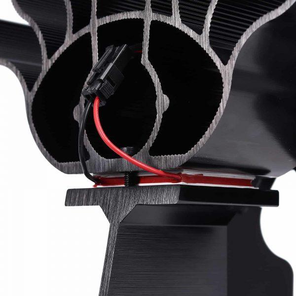 ESYNIC Black Eco Friendly 4 Blade Stove Fan Heat Powered Log Wood Burner Top Fan 6