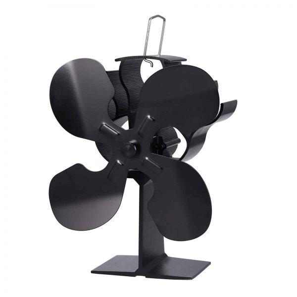 ESYNIC Black Eco Friendly 4 Blade Stove Fan Heat Powered Log Wood Burner Top Fan