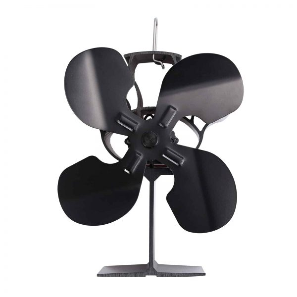ESYNIC Black Eco Friendly 4 Blade Stove Fan Heat Powered Log Wood Burner Top Fan 8