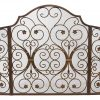"""Ebros Gift Large 53"""" Wide Cast Iron Metal Rustic Victorian Floral Vines Lace 3 Panel Fireplace Screen Home Decor Living Room Patio Accent 6"""