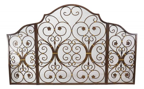 """Ebros Gift Large 53"""" Wide Cast Iron Metal Rustic Victorian Floral Vines Lace 3 Panel Fireplace Screen Home Decor Living Room Patio Accent 1"""