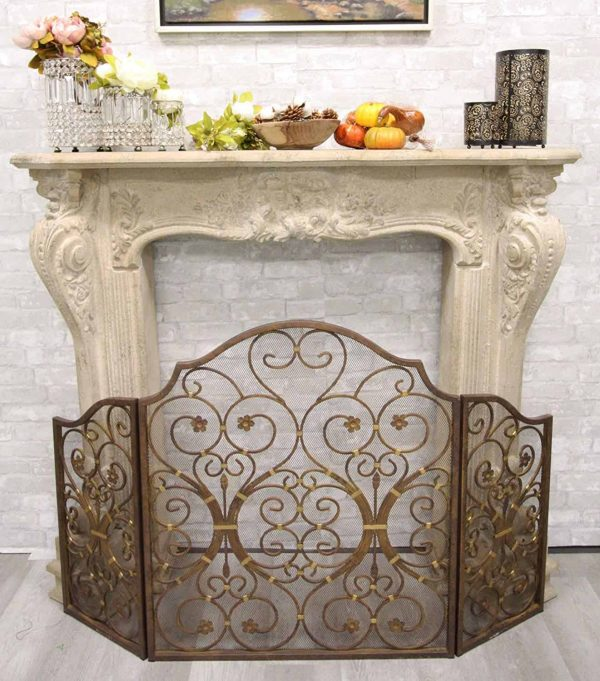 """Ebros Gift Large 53"""" Wide Cast Iron Metal Rustic Victorian Floral Vines Lace 3 Panel Fireplace Screen Home Decor Living Room Patio Accent 2"""
