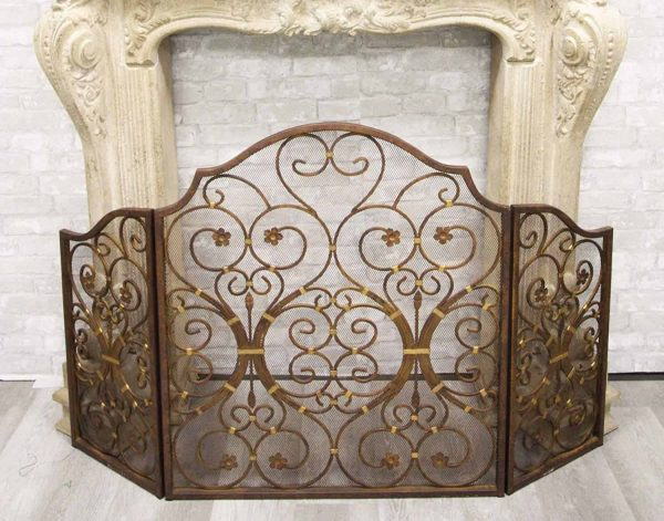 """Ebros Gift Large 53"""" Wide Cast Iron Metal Rustic Victorian Floral Vines Lace 3 Panel Fireplace Screen Home Decor Living Room Patio Accent 3"""