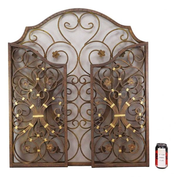 """Ebros Gift Large 53"""" Wide Cast Iron Metal Rustic Victorian Floral Vines Lace 3 Panel Fireplace Screen Home Decor Living Room Patio Accent 4"""