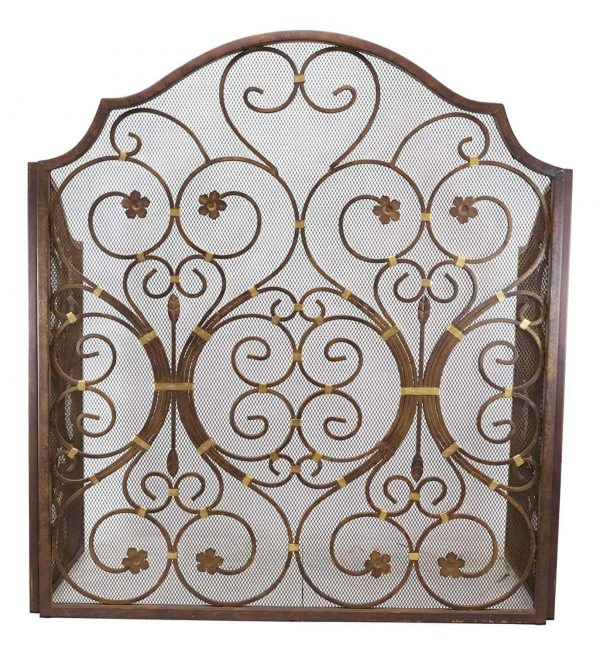 """Ebros Gift Large 53"""" Wide Cast Iron Metal Rustic Victorian Floral Vines Lace 3 Panel Fireplace Screen Home Decor Living Room Patio Accent 5"""