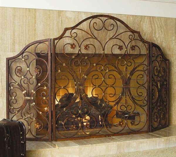 """Ebros Gift Large 53"""" Wide Cast Iron Metal Rustic Victorian Floral Vines Lace 3 Panel Fireplace Screen Home Decor Living Room Patio Accent"""