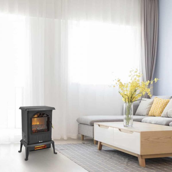 Freestanding Infrared Quartz Electric Fireplace Stove