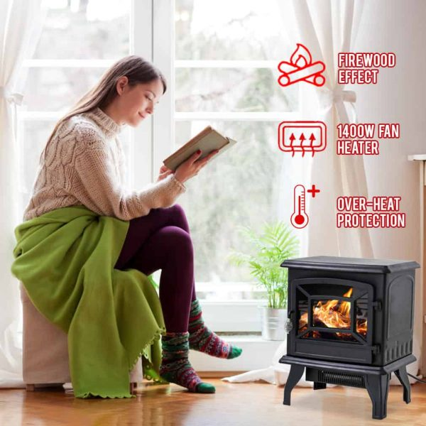 "Electric Fireplace Heater Stove Portable Space Heater Freestanding Fireplace for Home Office with Realistic Log Flame Effect 1500W CSA Approved Safety 20""Wx17""Hx10""D,Black 1"