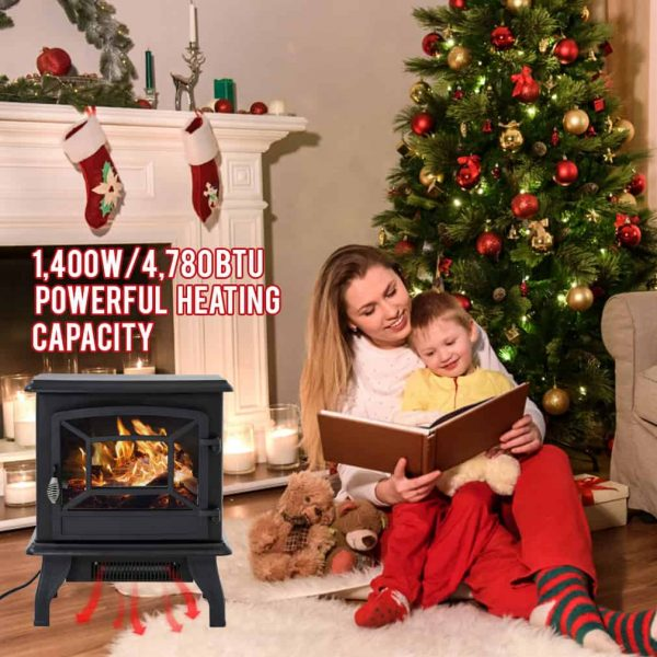"Electric Fireplace Heater Stove Portable Space Heater Freestanding Fireplace for Home Office with Realistic Log Flame Effect 1500W CSA Approved Safety 20""Wx17""Hx10""D,Black 3"