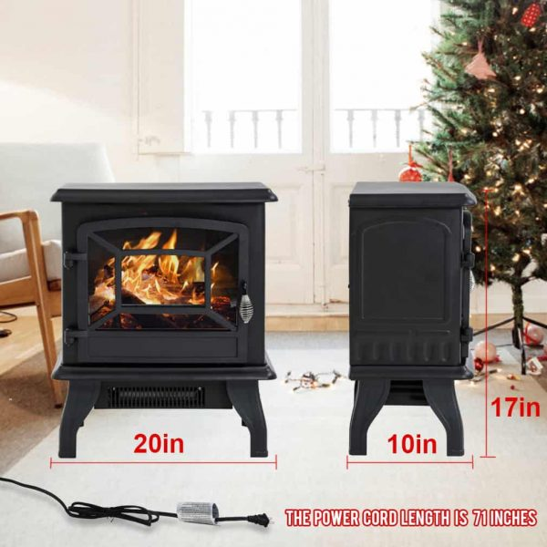 "Electric Fireplace Heater Stove Portable Space Heater Freestanding Fireplace for Home Office with Realistic Log Flame Effect 1500W CSA Approved Safety 20""Wx17""Hx10""D,Black 5"