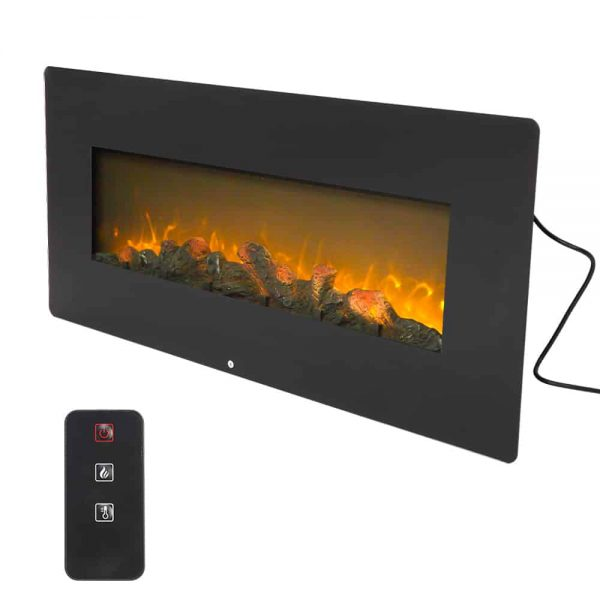 Electric Fireplace Heater with Remote, 1400W Wall Hanging Fireplace 3D Vivid Fireplace Space Heaters Room Heater for Indoor Use with Realistic Fake Wood 3 Flame Settings -CSA Certified, Q6655 6