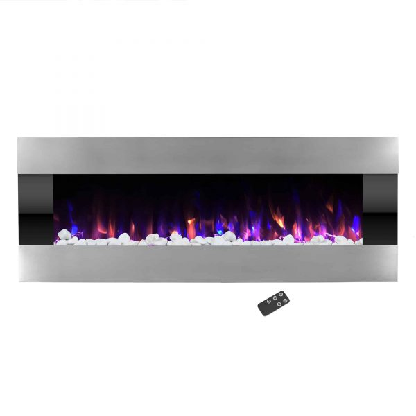 Electric Fireplace- Wall Mounted Color Changing LED Fire and Ice Flames, (HEAT or NO HEAT options), Multiple Decorative Options and Remote Control, 54 inch by Northwest 2