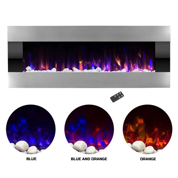 Electric Fireplace- Wall Mounted Color Changing LED Fire and Ice Flames
