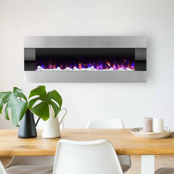 Electric Fireplace- Wall Mounted Color Changing LED Fire and Ice Flames, (HEAT or NO HEAT options), Multiple Decorative Options and Remote Control, 54 inch by Northwest 5