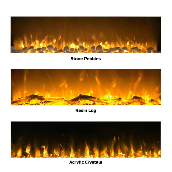 Electric Fireplace-Wall Mounted Color Changing LED Flame, NO HEAT, With Multiple Decorative Options and Remote Control by Northwest (50-inch, White) 1