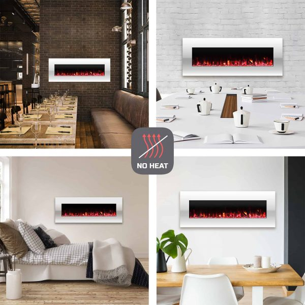 Electric Fireplace-Wall Mounted Color Changing LED Flame, NO HEAT, With Multiple Decorative Options and Remote Control by Northwest (50-inch, White) 2
