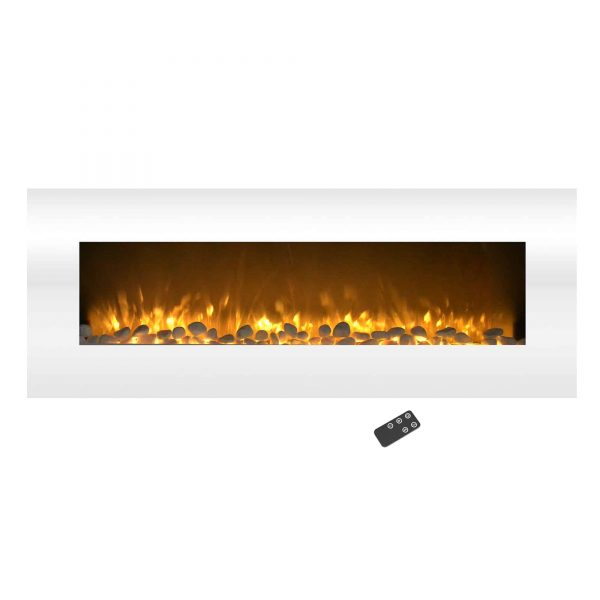 Electric Fireplace-Wall Mounted Color Changing LED Flame, NO HEAT, With Multiple Decorative Options and Remote Control by Northwest (50-inch, White) 3