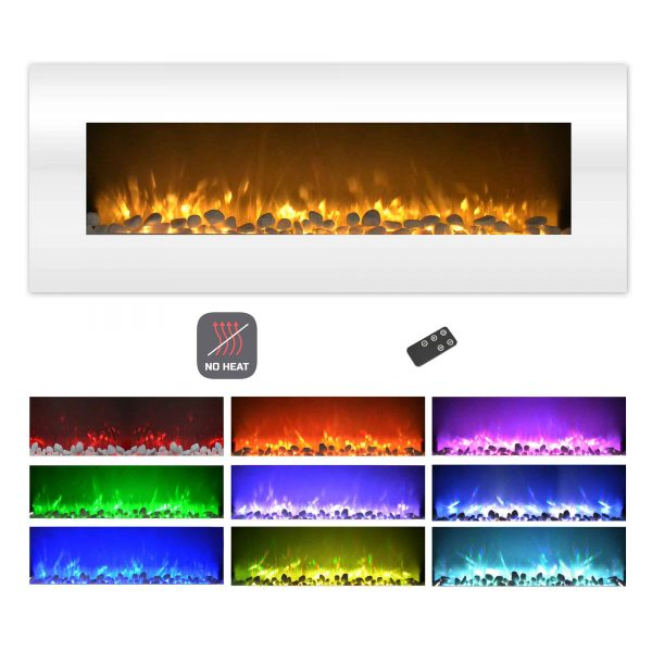 Electric Fireplace-Wall Mounted Color Changing LED Flame