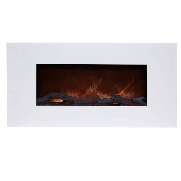 Electric Fireplace Wall Mounted, Color Changing LED Flame and Remote, 36 Inch, By Northwest (White) 1