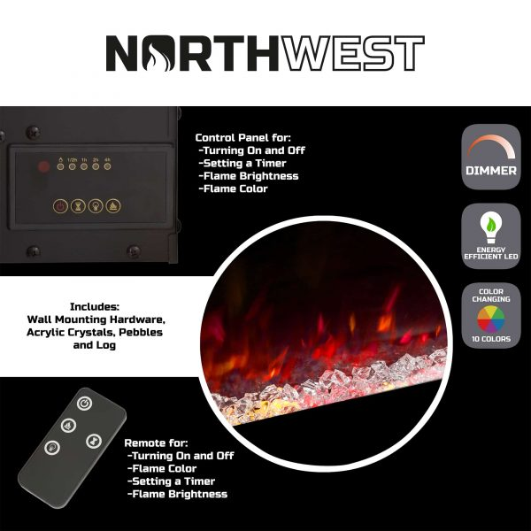 Electric Fireplace Wall Mounted, Color Changing LED Flame and Remote, 50 Inch, By Northwest (Black) 1