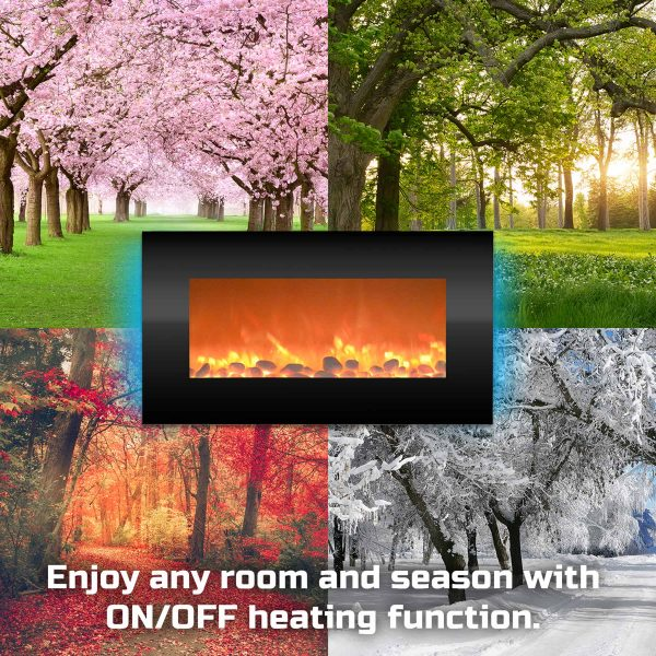 """Electric Indoor Fireplace-Wall Mounted with 13 Backlight Colors, Adjustable Heat and Remote, 31"""" by Northwest 1"""