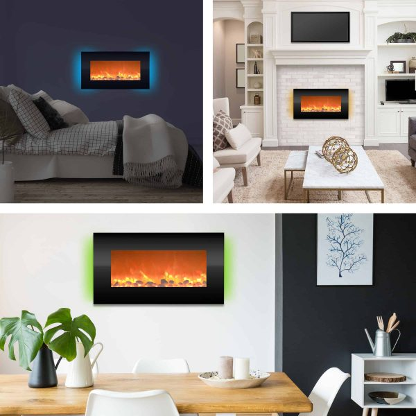 "Electric Indoor Fireplace-Wall Mounted with 13 Backlight Colors, Adjustable Heat and Remote, 31"" by Northwest 2"