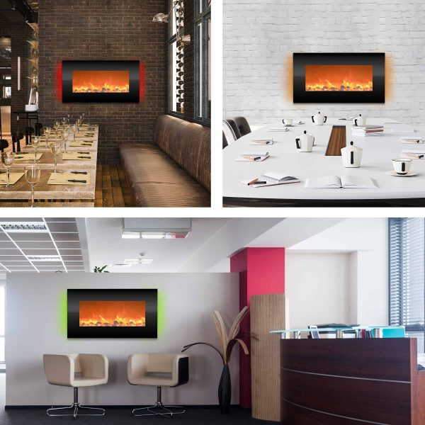 """Electric Indoor Fireplace-Wall Mounted with 13 Backlight Colors, Adjustable Heat and Remote, 31"""" by Northwest 3"""