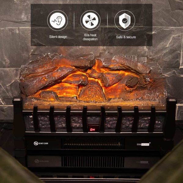 Electric Insert Log Quartz Fireplace Realistic Ember Bed Fan Heater in Black 4