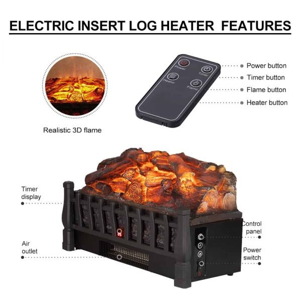Electric Insert Log Quartz Fireplace Realistic Ember Bed Fan Heater in Black 6