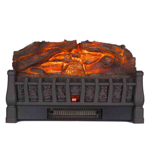 Electric Insert Log Quartz Fireplace Realistic Ember Bed Fan Heater in Black