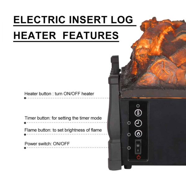 Electric Insert Log Quartz Fireplace Realistic Ember Bed Fan Heater in Black 7