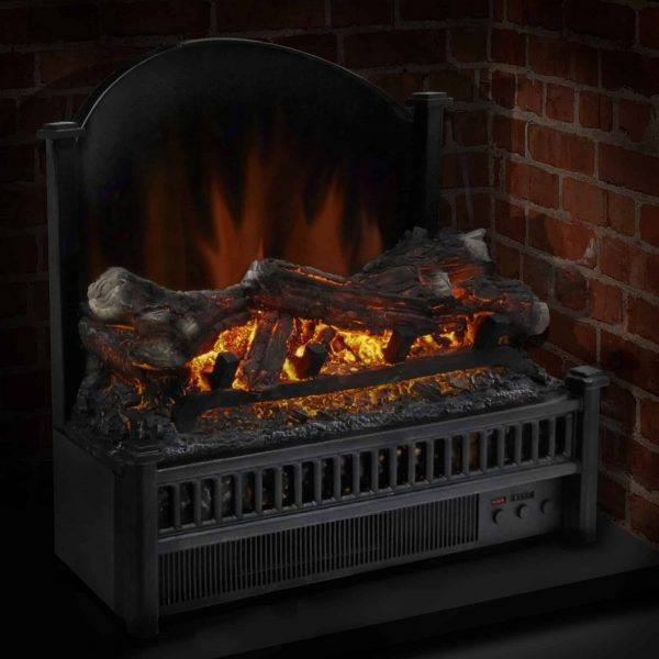 Electric Log Insert with Removable Fireback with Heater 2