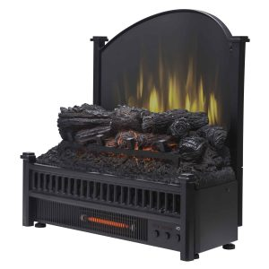 Electric Log Insert with Removable Fireback with Heater