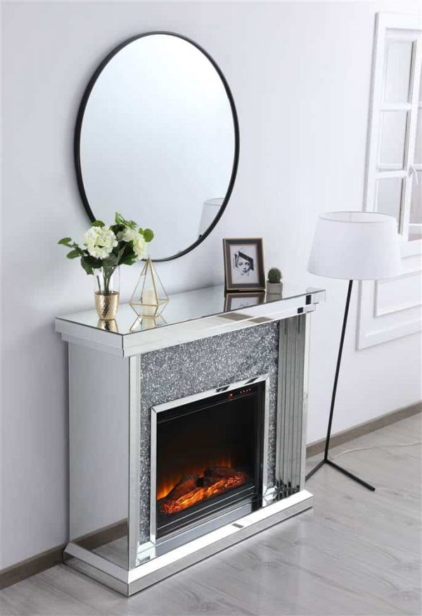 Elegant Decor MF9902-F1 47.5 in. Crystal Mirrored Mantle with Wood Log Insert Fireplace 1