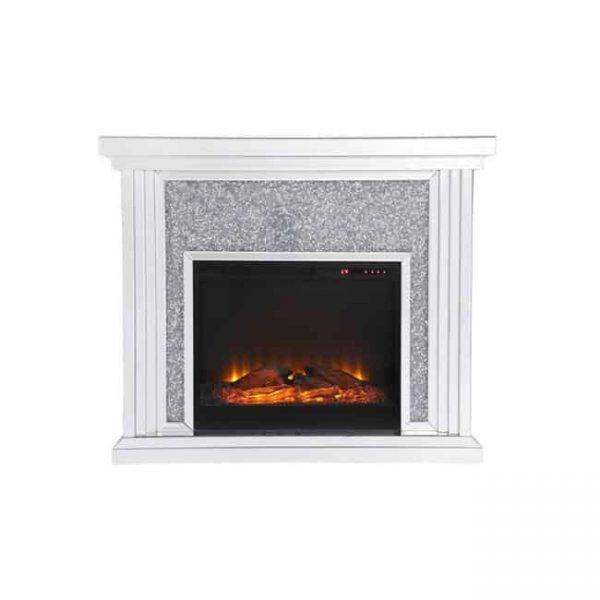 Elegant Decor MF9902-F1 47.5 in. Crystal Mirrored Mantle with Wood Log Insert Fireplace