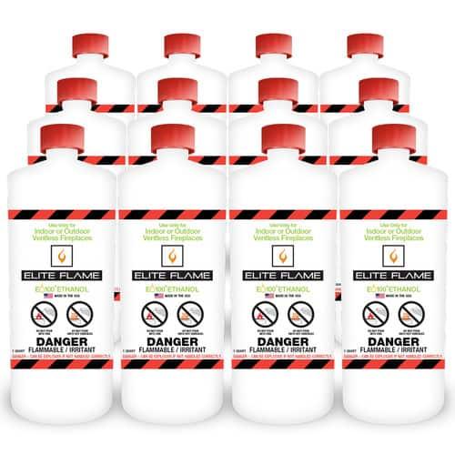 Elite Flame Bio Ethanol Fireplace Fuel (Set of 12)