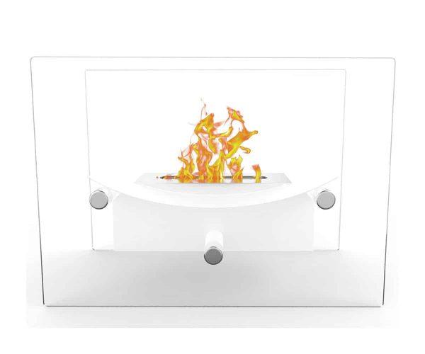 Elite Flame ET7012WHT-EF Arkon Tabletop Portable Bio Ethanol Fireplace in White 1