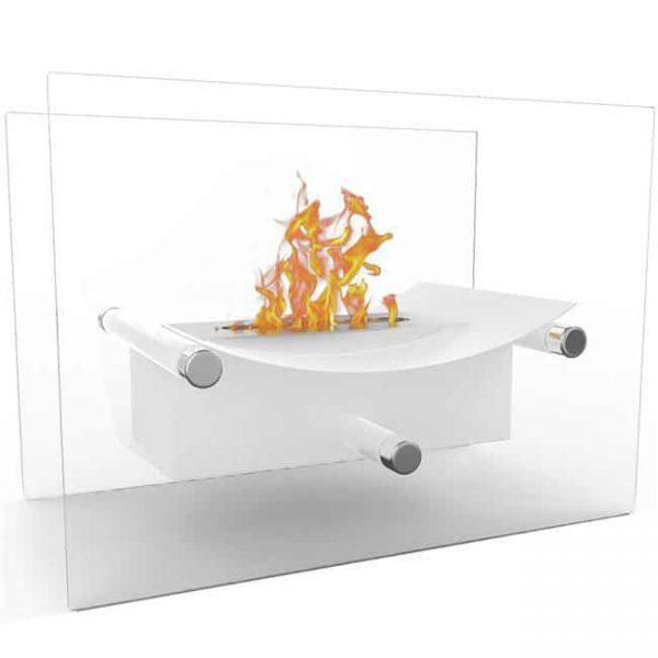 Elite Flame ET7012WHT-EF Arkon Tabletop Portable Bio Ethanol Fireplace in White