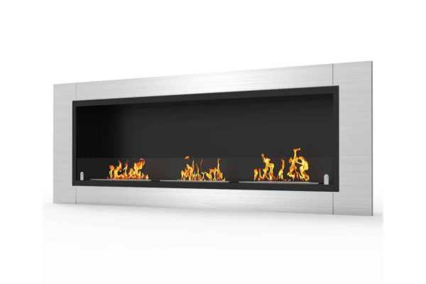 Elite Lenox 54 Inch Ventless Built In Recessed Bio Ethanol Wall Mounted Fireplace 2