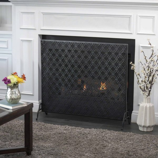 Elmer Single Panel Iron Fire Screen, Black 4