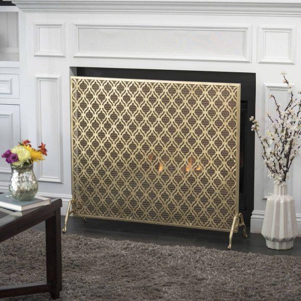 Elmer Single Panel Iron Fire Screen, Gold 4