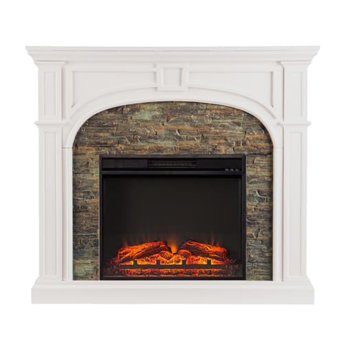 Fairrbury II Stacked Stone Electric Fireplace, White 1