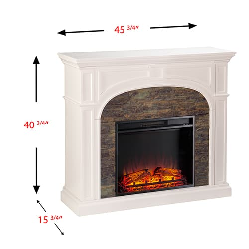Fairrbury II Stacked Stone Electric Fireplace, White 2
