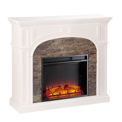 Fairrbury II Stacked Stone Electric Fireplace, White 3