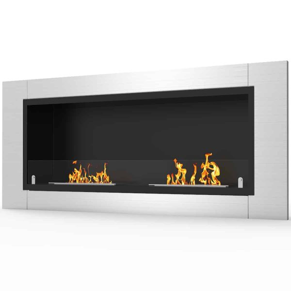 Fargo 43 Inch Ventless Built In Recessed Bio Ethanol Wall Mounted Fireplace 1