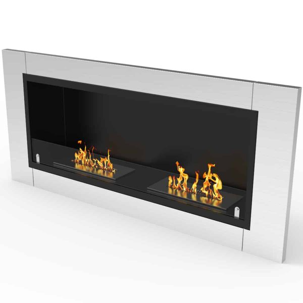 Fargo 43 Inch Ventless Built In Recessed Bio Ethanol Wall Mounted Fireplace 2